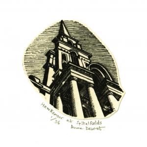 Anne Desmet. Hawksmoor at Spitalfields. Wood engraving & collage. Image size = 46 x 48 mm