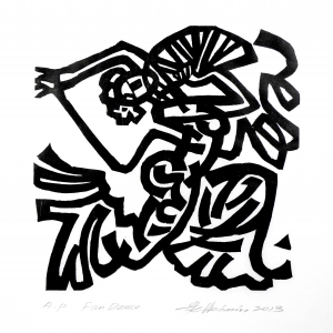 Weimin He. Fan Dance. Woodcut.